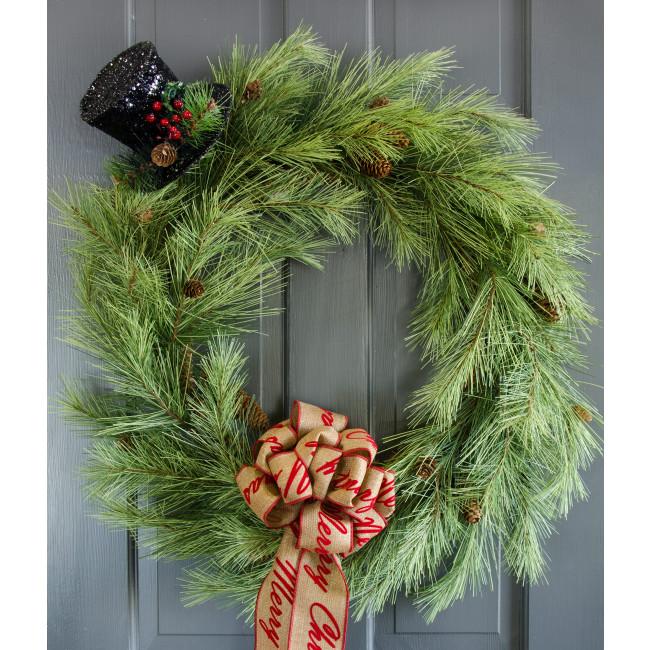 Quot black tinsel holiday top hat ornament r