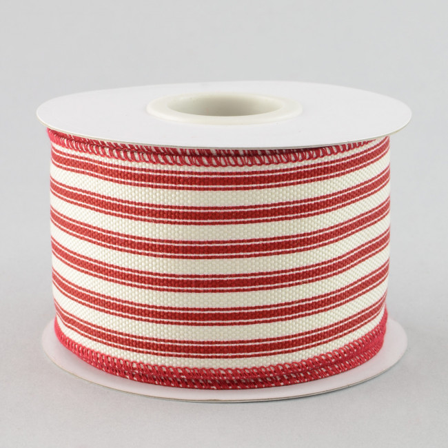 2 5 Quot Ticking Stripe Ribbon Red Amp Cream 10 Yards