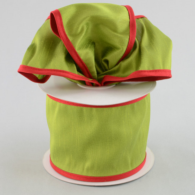 "4"" Faux Dupioni Silk Ribbon: Green With Red Trim (10 Yards"