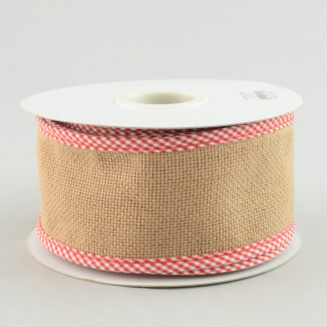 2 5 Quot Faux Burlap Ribbon With Red Gingham Edge 10 Yards