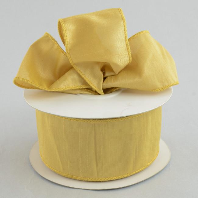 "2.5"" Faux Dupioni Ribbon: Gold Sand (25 Yard Roll"