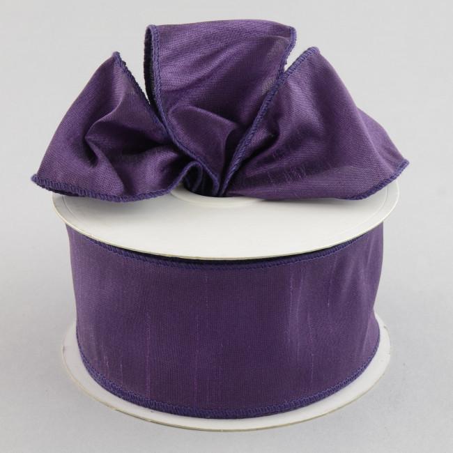 """2.5"""" Faux Dupioni Ribbon: Eggplant Purple (25 Yard Roll"""