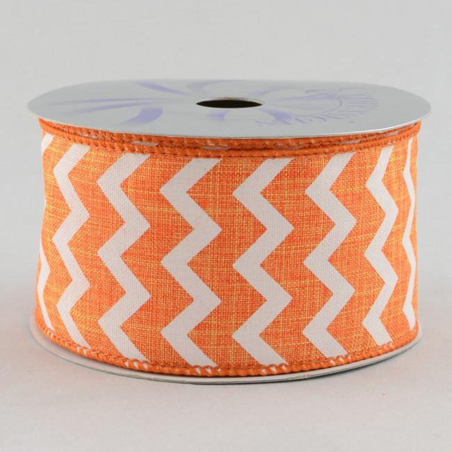 2 5 Quot Canvas Chevron Ribbon Orange Amp White 10 Yards