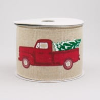 MADE TO ORDER Cutie Pa Tutie 4 Wide....5 Yards of a Rustic Red Truck Christmas Ribbon coordinated with a Wired Diagonal check Ribbon