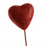 55MM Glitter Foam Solid Heart Pick (Set of 6): Red