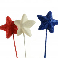 50MM Foam Star Picks (Set of 9): Red, White & Blue