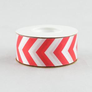 "1 3/8"" Chevron Ribbon: Red & White (25 Yards)"