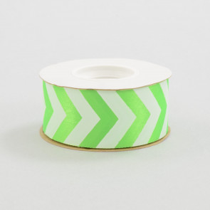 "1 3/8"" Green and White Chevron Print Ribbon (25 yard roll)"