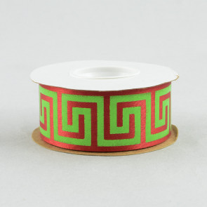 "1 3/8"" Greek Key Ribbon in Lime Green and Red (25 yards)"