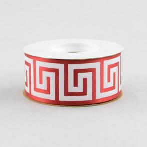 "1 3/8"" Greek Key Ribbon: Red & White (25 Yards)"