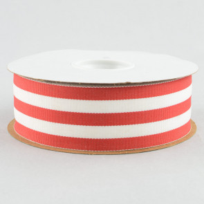 "1.5"" Red and White Striped Grosgrain Ribbon (25 Yards)"