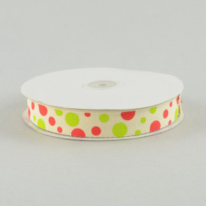 "7/8"" Natural Cotton Ribbon With Lime & Red Polka Dots"