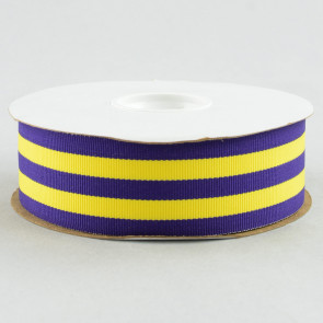 "1.5"" Purple and Gold Striped Grosgrain Ribbon (25 Yard Roll)"