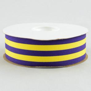 "1.5"" Purple and Gold Striped Grosgrain Ribbon (25 Yard Roll)"