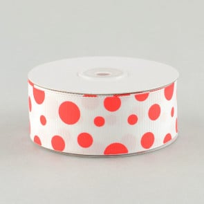 """1.5"""" Grosgrain White Ribbon Polka Dot Print: Red"""