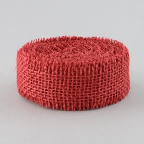 "1.5"" Burlap Frayed Edge Ribbon: Red"