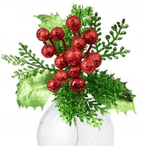 """8"""" Glitter Holly Berry Pick: Red ..."""