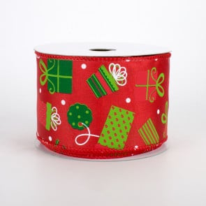 """2.5"""" Christmas Presents Ribbon: Red, Emerald, Lime (10 Yards) 2.5"""