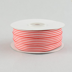 "5/8"" Grosgrain Pinstripe Ribbon: Red & White (25 Yards)"