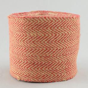 """4"""" Jute Herringbone Ribbon: Natural & Red (10 Yards)"""