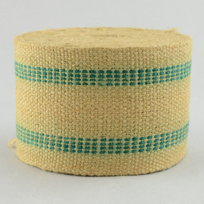 """3.5"""" Jute Webbing: Natural & Green Stripe (10 Yards)"""