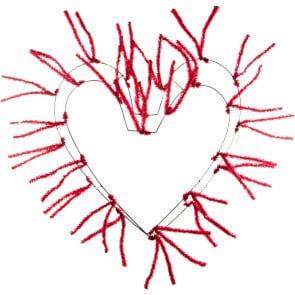 """18-28"""" Tinsel Heart Work Form: Red"""