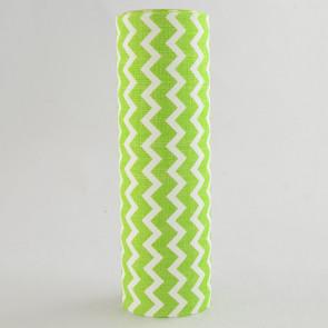 "9.5"" Satin Chevron Ribbon: Lime & White (5 Yards)"