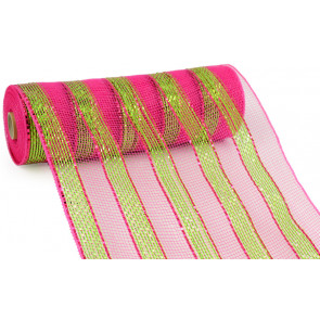 "10"" Poly Mesh Roll: Metallic Fuchsia/Lime Stripes"