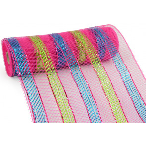 "10"" Poly Mesh Roll: Metallic Fuchsia/Lime/Turquoise Stripe"