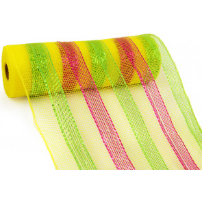 "10"" Poly Mesh Roll: Metallic Yellow/Lime/Fuchsia Stripes"