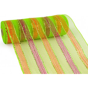 "10"" Poly Mesh Roll: Metallic Lime/Orange/Fuchsia Stripes"