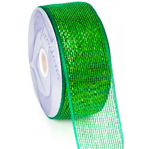 "2.5"" Poly Deco Mesh Ribbon: Metallic Green(discontinued)"