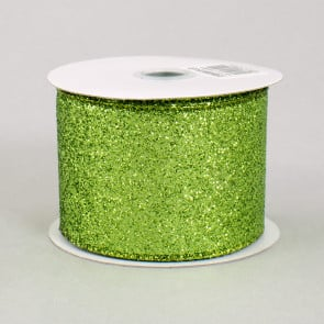 Clover Glitter Wired Edge Ribbon Light Natural, Grass Green 2.5 x 10 Yards