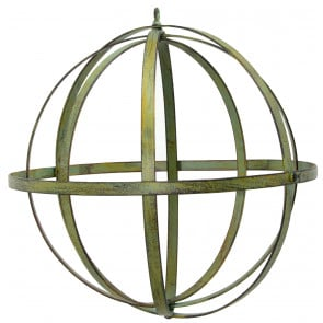 "12"" Wrought Iron Ball: Forest Green Distressed Finish"