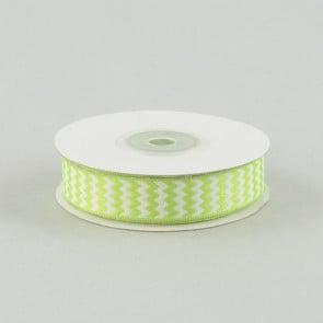 """5/8"""" Chevron Ribbon: Apple Green & White"""