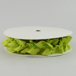 "2.5"" Wide Ruffled Faux Burlap Ribbon in Lime Green"