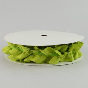 "2.5"" Wide Ruffled Faux Burlap Ribbon in Lime Green"