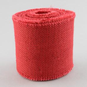 "4"" Red Burlap Ribbon with Fringed Edge (10 Yards)"