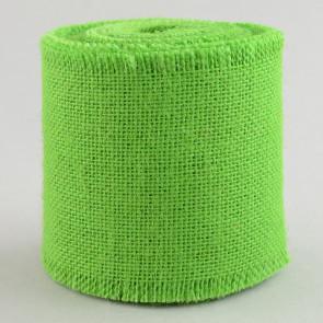 "4"" Apple Green Burlap Ribbon With Fringed Edge (10 Yards)"