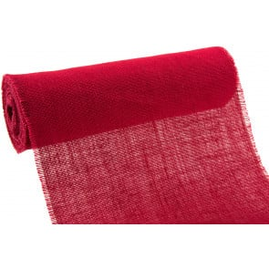 "14"" Natural Burlap Red Fabric with Fringe Edge (10 Yard Roll)"