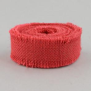 "1.5"" Red Burlap Ribbon With Fringed Edge"