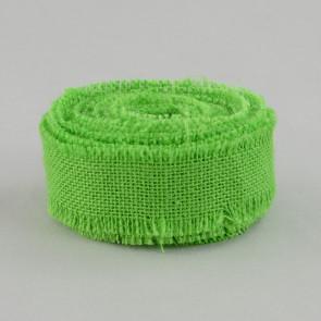 "1.5"" Apple Green Burlap Ribbon With Fringed Edge (10 Yards)"