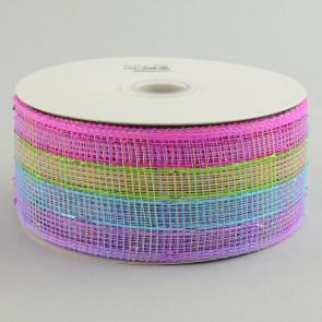 """2.5"""" Poly Mesh Ribbon: Metallic Pink/Blue/Lime/Lavender Check"""
