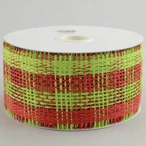 "2.5"" Paper Mesh Ribbon: Lime Green/Red Plaid"