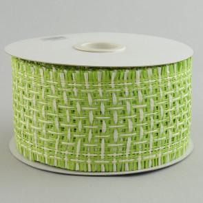 "2.5"" Paper Mesh Ribbon: Natural/White Criss Cross"
