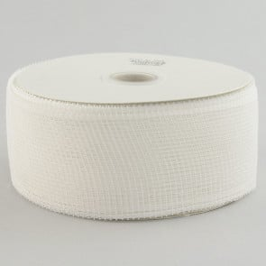 "2.5"" Poly Deco Mesh Ribbon: White"