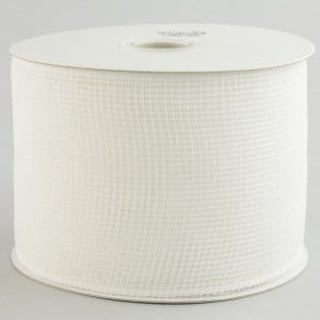 "4"" Poly Deco Mesh Ribbon: White"