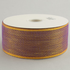 "2.5"" Poly Deco Mesh Ribbon: Purple & Gold"