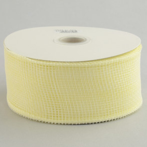 "2.5"" Poly Deco Mesh Ribbon: Cream & White"