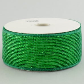 "2.5"" Poly Deco Mesh Ribbon: Metallic Emerald Green"